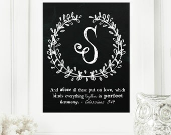 """Instant """"Family Monogram Scripture"""" Chalkboard Wall Art Print 11x14 Typography Letter """"S"""" Printable Home Decor"""