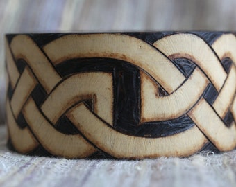 Celtic Love Knot Infinity Knotwork Pyrography Wood Burning Bracelet Bangle Wooden
