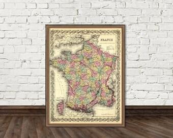 Vintage map of  France fine print  - La carte de France - Archival print