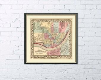 """Cincinnati map - Antique  Cincinnati  city map Print - 16 x 17"""""""