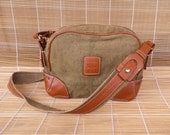 Vintage Small Size Green Khaki Canvas Shoulder Strap Bag