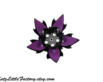 Large Spiky Purple and Black PVC Cyber Flower Hair Clip