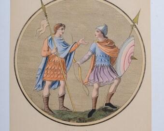 Engraving Print Handcolored 1842-62 Military Habits of 10th Century, Joseph STRUTT, London