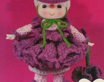 "Instant Download PDF Vintage Eighties 14"" Raspberry Fluff Doll  Crochet Pattern"