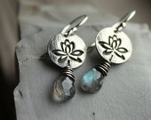 Silver Lotus Flower Earrings with Labradorite