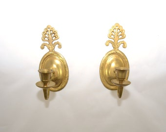 Candle Holder Wall Sconce Brass Wall Sconce Candle Holders Art Deco Wall Sconce - a Pair