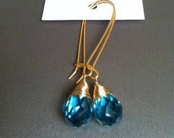 Crystal Earrings in Sapphire Blue