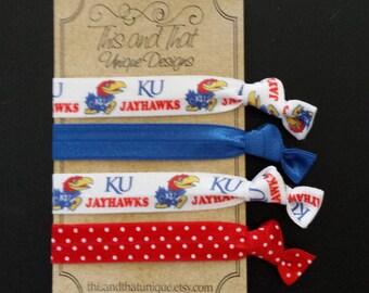 Kansas University KU Jayhawks Hair Ties or Wrist ties FOE