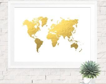 Gold World Map, Art Print Poster, World Map Print, Faux Gold Art, Gold Map, Travel Decor, Gold & White, Wall Art, Map Print, Gold Map Print
