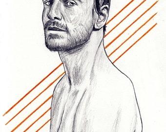 Michael Fassbender - original pencil sketch - size A5