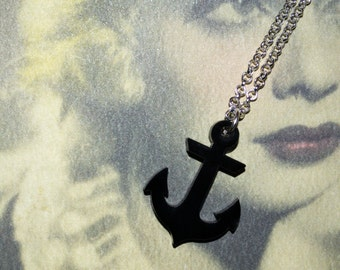 Nautical Jewelry, Anchor Necklace, Black Anchor, Rockabilly Necklace, Black Anchor Pendant, Tattoo Style Anchor, Anchor Jewelry, Black Charm