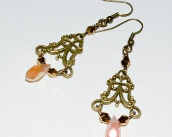 Chandelier Earrings, Boho Earrings, Ornate Earrings, Long Drop Earrings, Crystal Jewelry, Peach Crystal Drop Earrings, Long Elegant Earrings