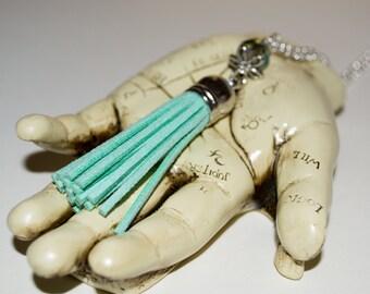 Mint Green Tassel Necklace, Long Boho Necklace, Boho Jewelry, Long Fringed Tassel Pendant, Layering Necklace, Festival Style, Pastel Jewelry