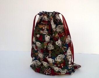 Teddy Bear Christmas Drawstring Fabric Gift Bag Upcycled, Reusable 9 X 11 Inches
