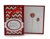 Tulip Birthday Card - Floral Birthday Card - Chevron Happy Birthday Card - Red Tulip Card - Modern Birthday Card - Birthday Stationery