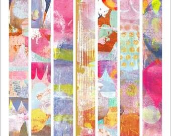 Mono Print Art Strips© Stickers - Mixed Media