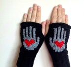 Valentine's Day Gift Red Heart on My Hand Pattern Fingerless Gloves - Soft Knit Mittens - Women Teens Accessories - Fall Winter Fashion