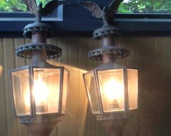 Antique Copper Eagle Lanterns