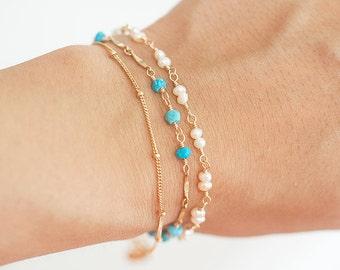 Turquoise Bracelet, Delicate Gold Bracelet,  Delicate Turquoise Bracelet, Layering Bracelet, Delicate Chain Bracelet, Blue stone jewelry
