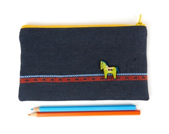 Embroidered Grey Linen Pencil Case Zipper Pouch with Wooden Dala Horse