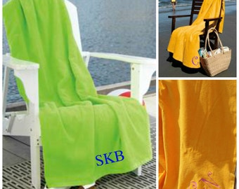 Large Beach Towel with Initial Monogram Spring Break, Graduation, Beach Vacation, Summer Vacation Personalized Gift