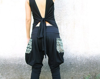 Backless Top, Open back top, Wrap top, Bohemian top, Black tank top, On SALE
