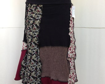 Recycled Tee Skirt, Up-cycled Cotton Skirt, Patchwork A Line Skirt, Burgundy, Black, Brown and Prints, Small to Medium, #SK291