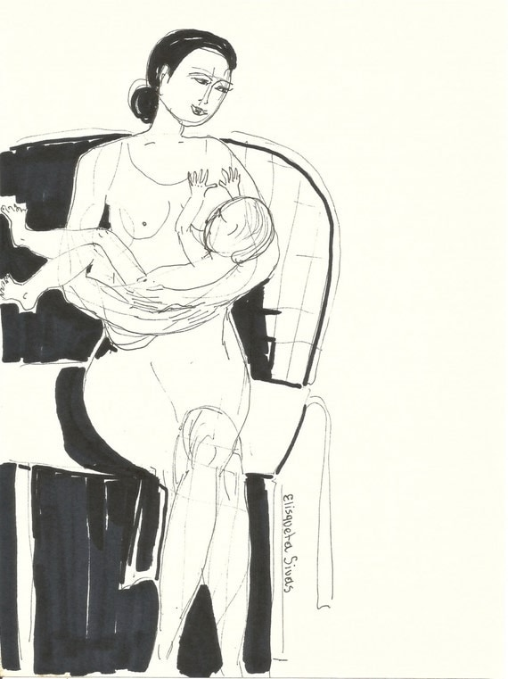 Ink drawing MOTHER AND BABY // natural breast feeding // motherhood art // 5,9 x 7,9'
