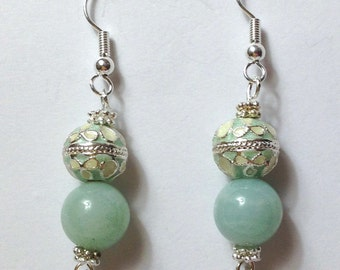 "Handmade 2"" Pale Green AMAZONITE  EARRINGS with Silver Accents FILIGREE and Silver Wires"