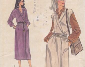 1970s Halston-ish Notched Lapel Wrap Dress or Jumper Vintage Pattern, Easy Vogue 7127, Drop Shoulder, Below Knee, Chic Casual High Fashion