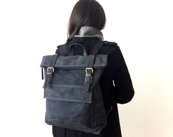 "ALL BLACK - Waxed Canvas Backpack in Black - Fathers Day Gift - Zippered Foldover Closure - Leather Accessories - 15"" - Waterproof"