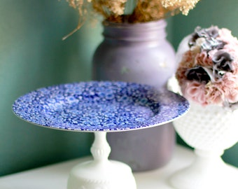 Cake Stand / Blue Calico Cake Plate Pedestal / Dessert Pedestal / Shabby Chic Home Decor / Shabby Chic Weddings