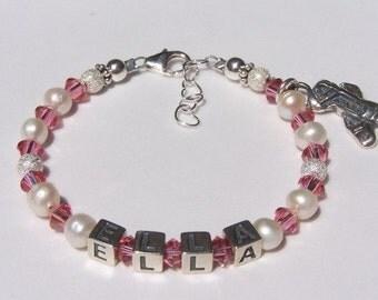 Baby Girl Gift Child Bracelet Charm, Flower Girl Bracelet, Birthday, Baby, Child, Children