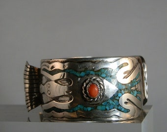 Vintage Navajo Sterling Silver Chip Inlay Coral and Turquoise Watch Cuff Peyote Bird Intricate Design Signed Jewelry DanPickedMinerals