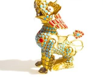 Chinese Foo dog figurine brass embellished