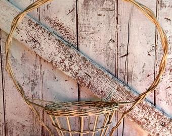 Antique funeral basket Large Plant Basket Large Chalky White Funeral basket