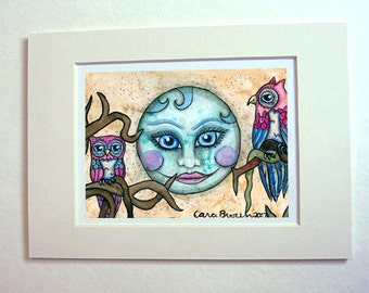 Owl and smiling Moon art print watercolor painting matted for 5 x 7 frame fantasy art