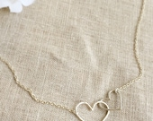 Silver Linked Hearts Necklace . Bridesmaid Necklace . Linked Hearts . Heart Necklace . Lovers Necklace . Love Necklace . Handmade Jewelry
