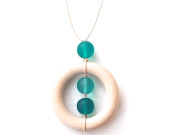 Wooden Teething Necklace for Mom - Nursing Necklace - Ocean - Turquoise/ Aqua/ Teal