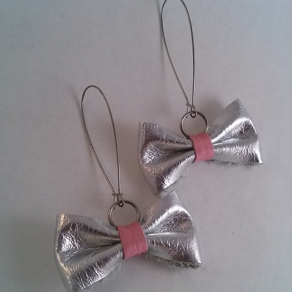 metallic silver pink leather bow tie earrings silver