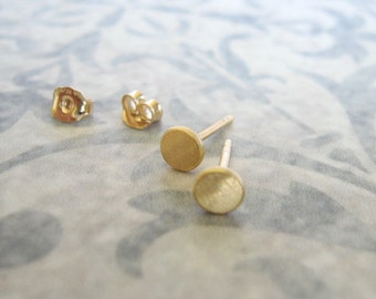 4.5-5 mm Gold studs , Brushed matt gold disc post earrings , Small circle gold studs , Handmade by Adi Yesod