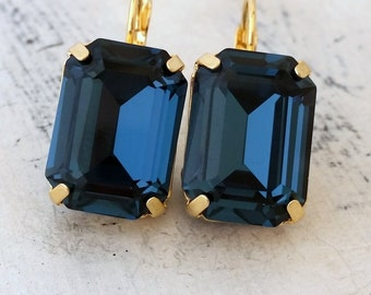 Navy blue crystal drop earring,Dark blue,Swarovski rectangle dangle earrings,Octagon blue drop earring,Bridal earrings,Blue Bridesmaids gift