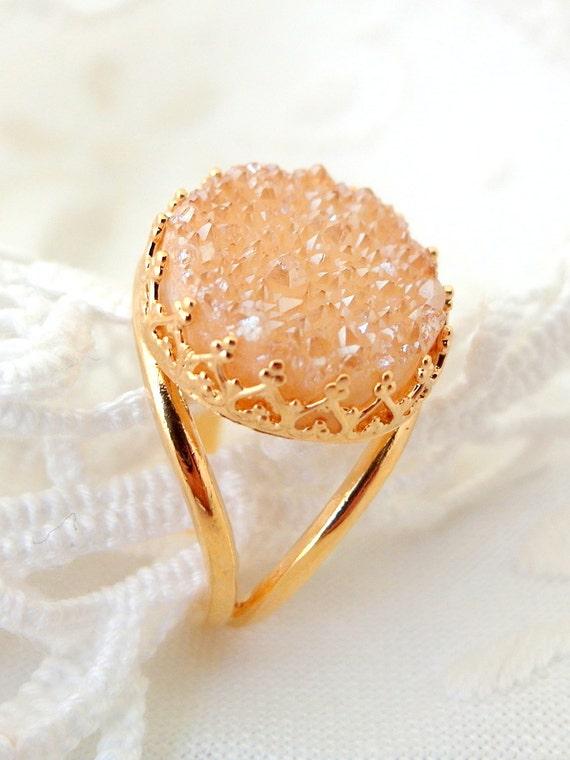 Peach Druzy ring, Bridal ring, 14k Gold ring, Druzy ring, Champagne gemstone ring, 14mm stone,  Vintage ring, Cocktail ring, bridesmaid gif