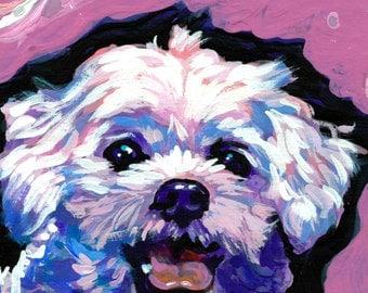 "Maltese portrait art print of pop dog painting bright colors 12x12""  LEA"