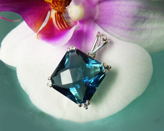 Blue Fluorite, Cushion Cut Pendent Sterling Silver
