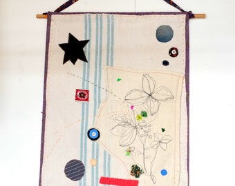 Textile Wall Hanging made from vintage blanket and fabrics, hand and machine embroidery. Gift