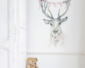 Deer Bunting Removable Wall Sticker | LSB0082CLR-CHI
