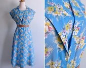 Vintage 70's Does 40's Kitschy Floral Bouquet Print Sky Blue Cotton Dress S or M