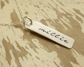 Hand Stamped Mommy Jewelry - - Personalized Necklace - - Single Name - - Sterling Silver Necklace