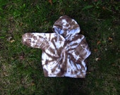 Reserved for Alyssa D - 100% Cotton 12 Month Hoodie - Tie-Dye Brown Snap Front Hoodie - Baby Tie-Dyes - Lightweight Cotton Beach Cover Up